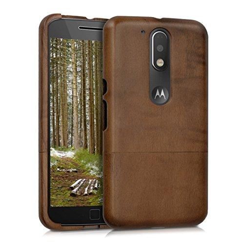 kwmobile Funda Compatible con Motorola Moto G4 / Moto G4 Plus - Carcasa Protectora de Madera - Case para móvil - marrón Oscuro