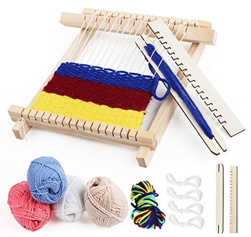 Weben für Kinder Set, DIY Holz Webrahmen Set 22 x 17cm Bespannen von Webrahmen, Holz Kinder-Webrahmen mit Farbige Wolle, Kettgarn und Zubehör, Webrahmen aus Holz Idea für Anfänger, Kinder
