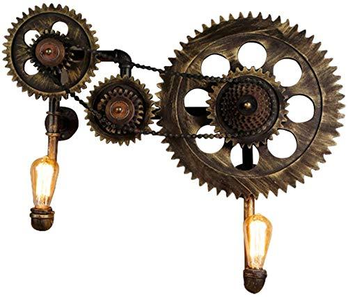 Luces de pared industriales, Lámpara de pared industrial retro engranaje mecánico creativo luces de pared de bronce de hierro forjado E27 Apliques de salón Bar restaurante Aisle Cafe Corredor Lapeador