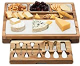 Shanik Cheese Board With 7 Piece Stainless Steel Cutlery Set - Acacia Wood Charcuterie Board and...