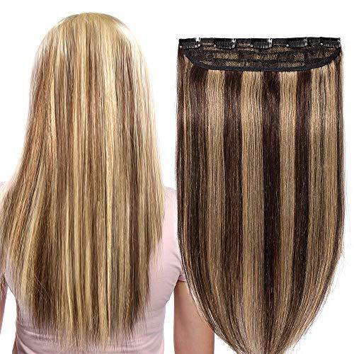 Clip In Extensions Echthaar ein Stück 5 Clips Dünn Tressen 100% Remy Echthaar Haarverlängerung (40cm-45g #4/27 Mittelbraun/Dunkelblond)