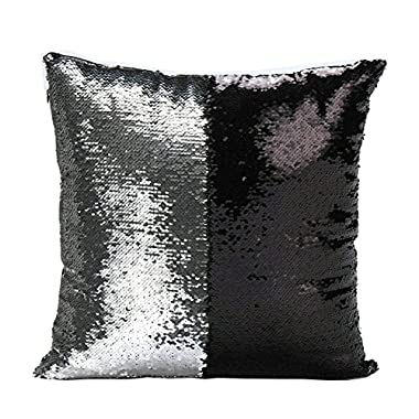 Livedeal Reversible Sequins Mermaid Pillow Cases 4040cm Silver and Black