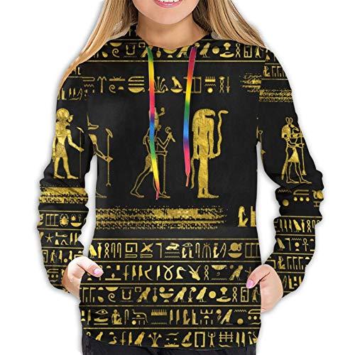Sudadera con capucha para mujer, diseño de jeroglíficos egipcios de oro, con bolsillo
