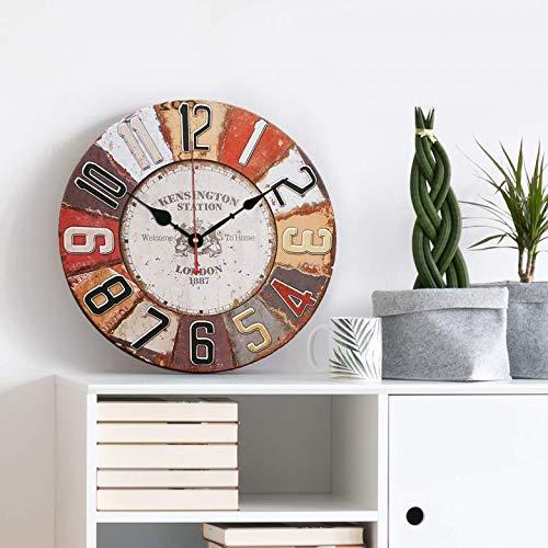 Único Reloj de pared de madera MDF grande (40 cm de diámetro), diseño Retro hogar Relojes Cocina pared Vintage