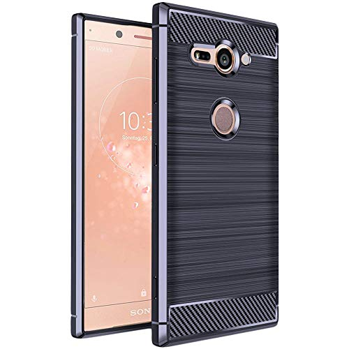 ebestStar - kompatibel mit Sony Xperia XZ2 Compact Hülle Kohlenstoff Design Schutzhülle, TPU Handyhülle Flex Silikon Hülle, Dunkelblau [Phone: 135 x 65 x 12.1mm, 5.0'']