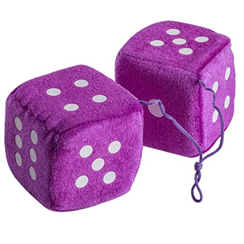 CoverYourHair Viola Fuzzy Car Dadi - Good Luck Charm Fuzzy Dice in Viola per Auto