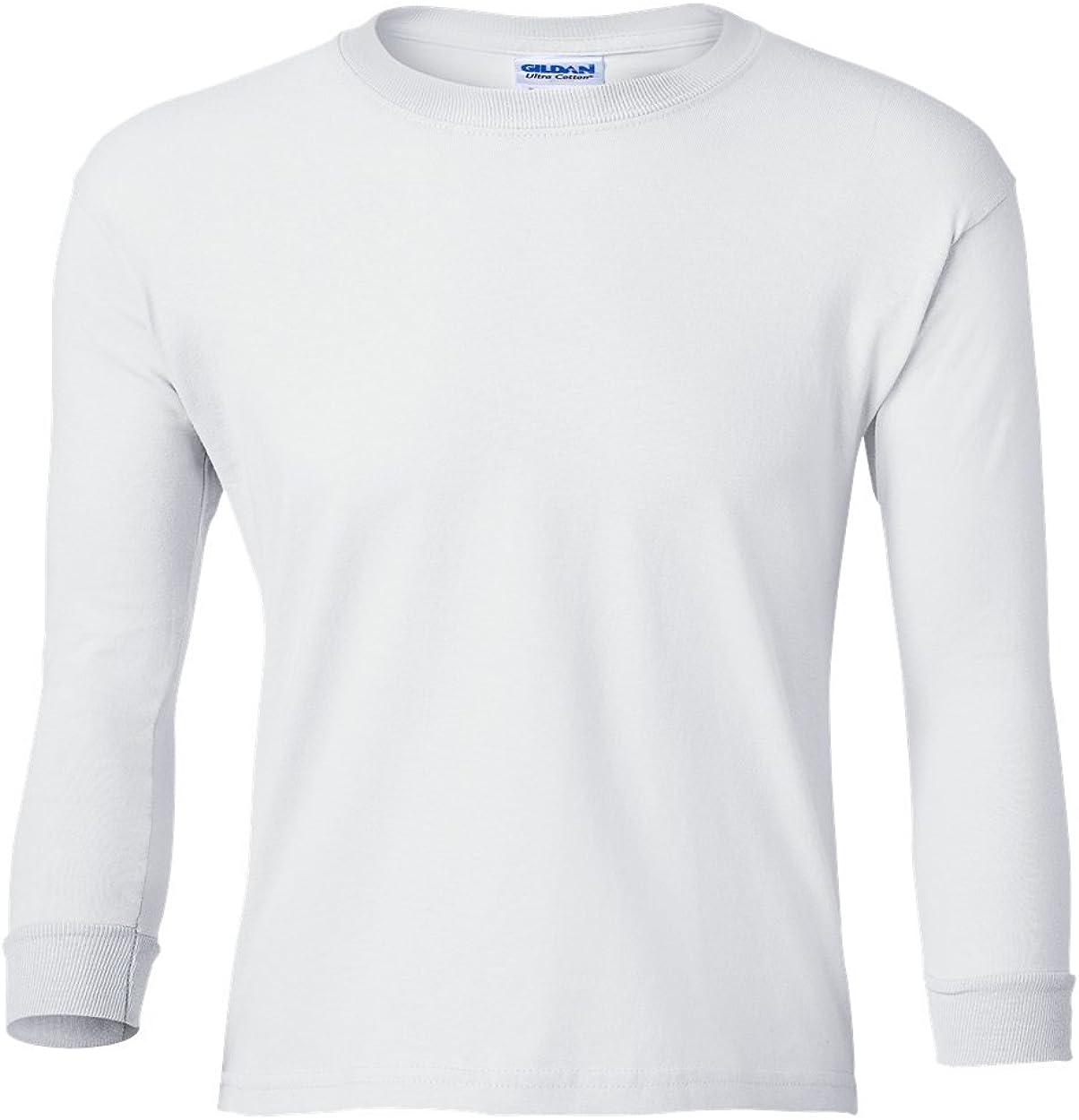 Fashion Gildan 2400B Cotton Youth L Sleeve T Shirt White Medium