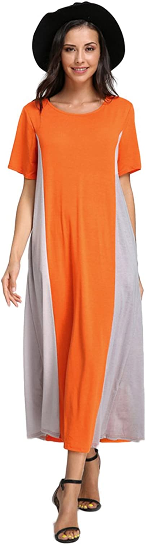 Celmia Women's Casual Double color Short Sleeve colorblock Baggy Long Maxi Dress