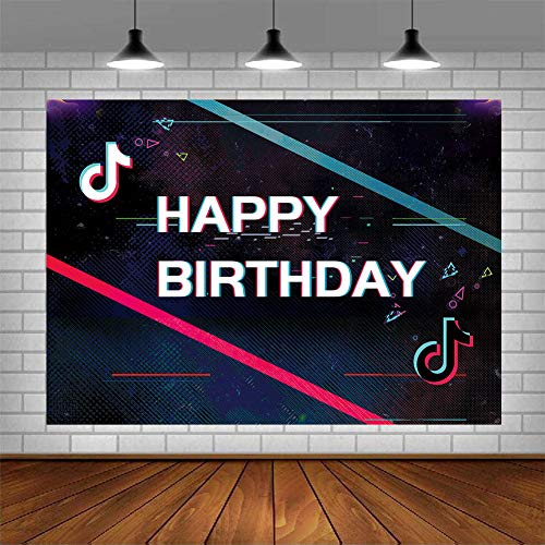 Gemten TIK TOK Party Decorations 7x5FT Photo Backdrop Artistic Music Themed Birthday Party Supplies Bedroom Wall Tapestry Blanket Home Decor