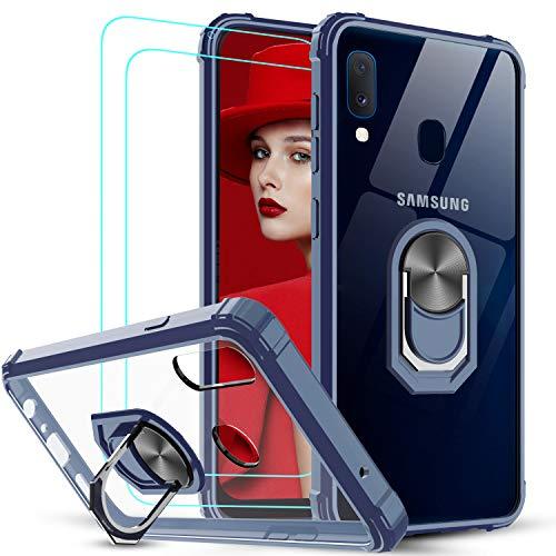 LeYi für Samsung Galaxy A20e Hülle mit Panzerglas Schutzfolie(2 Stück), Ringhalter Schutzhülle Crystal Clear Acryl Cover Air Cushion Bumper Handy Hüllen für Case Samsung Galaxy A20e Handyhülle Blau