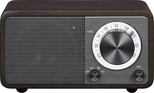Sangean WR-7DK Wood Cabinet Mini Bluetooth Speaker with FM Radio Tuner and Aux-in Dark Cherry/Wood