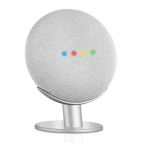 Caremoo Metal Pedestal Stand for Google Nest Mini (2nd Gen) and Google Home Mini (1st Gen), Sound Visibility and Appearance Improving, Desktop Mount for Your Google Mini Voice Assistant (Silver)