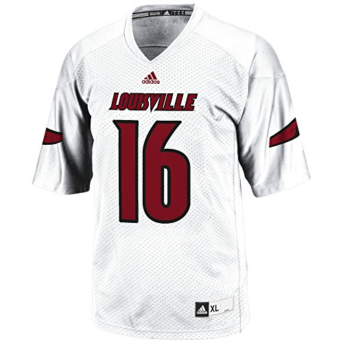 adidas Adult Men NCAA 3-Stripe Football Jersey, Medium, White, Louisville Cardinals