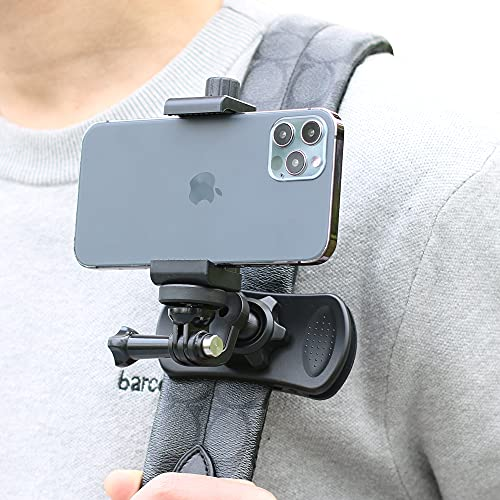 Upgraded Backpack Strap Clip Mount Phone Mount Holder for Shooting Video Compatible with iPhone12/12Pro/12mini/12Pro Max, iPhone11, iPhone X/XS/XR, Samsung Galaxy and More