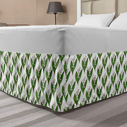 Lunarable Apothecary Elastic Bed Skirt, Symmetric and Repetitive Pattern with Lily of The Valley Print, Wrap Around Fabric Bedskirt Dust Ruffle for Bedroom, Queen, Fern Green and White