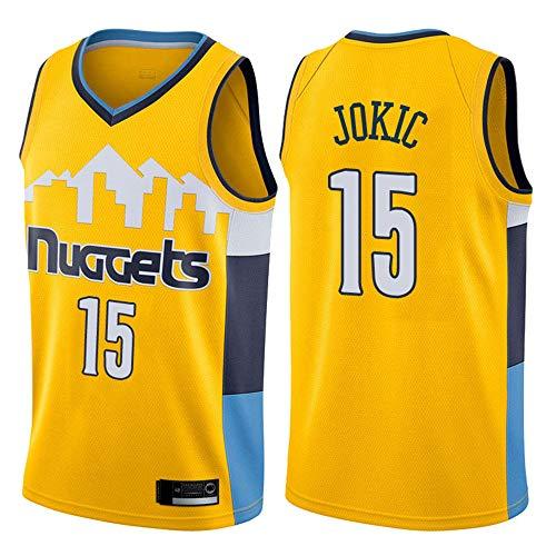 Uniformes De Baloncesto para Hombres, Denver Nuggets # 15 Nikola Jokic NBA Basketball Jerseys Outdoor Ocio Deportes Camisetas Tops De Chaleco Transpirable,Amarillo,XXL(185~190CM)