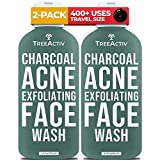 TreeActiv Charcoal Acne Exfoliating Face Wash | Sulfur Cleanser for Pimple, Zit, Whitehead, Blackhead, Hormonal, & Cystic Acne | Travel Sized Facial Treatment & Milia Remover | 400+ Uses, 2-Pack