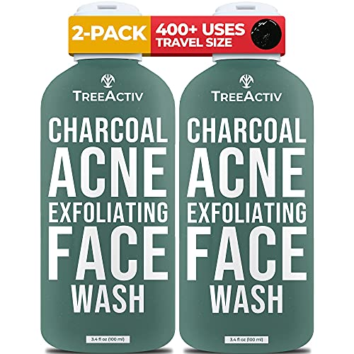 TreeActiv Charcoal Acne Exfoliating Face Wash   Sulfur Cleanser for Pimple, Zit, Whitehead, Blackhead, Hormonal, & Cystic Acne   Travel Sized Facial Treatment & Milia Remover   400+ Uses, 2-Pack