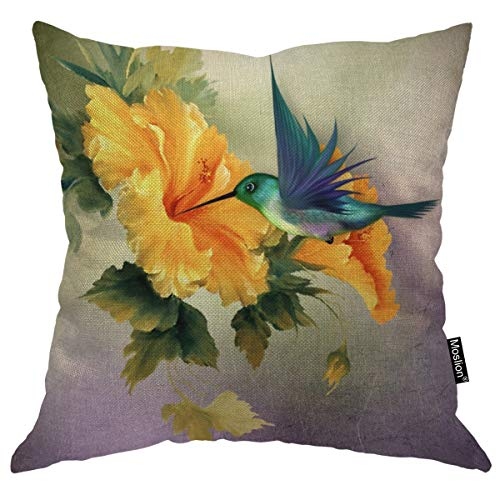 Moslion Throw Pillow Cover Humming Bird 18x18 Inch Oil Painting Floral Bird Animal Nature Spring Leaves Bright Square Pillow Case Cushion Cover for Father's Day Home Car Decorative Cotton Linen