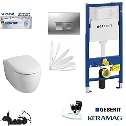 Geberit Duofix Vorwandelement, KERAMAG ICON WC Spülrandlos Komplettset + Deckel Absenkautomatik, Keratect Beschichtung, Schallschutz, Drückerplatte CHROM Eckig