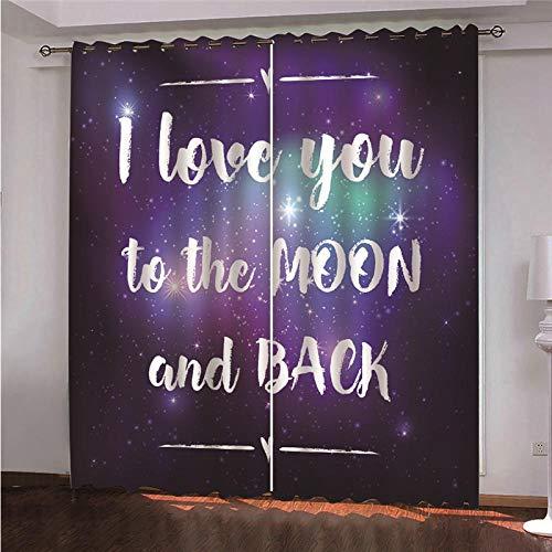 DOORWD Tenda Oscurante Termica Isolante con Occhielli Tende Viola, Lettere 2 Pannello per Finestre Soggiorno Interni 220 cm x 215cm