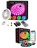 MINGER RGBIC Waterproof LED Strip Lights with APP and 16.4ft RGB Color Changing LED Light Strip with Remote Bundle, 5050 LEDs and Strong Adhesive Tape for Party, Room, Bedroom, TV, Gaming Decoration