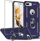 Funda para iPhone 8 Plus,iPhone 7 Plus,iPhone 6s Plus/6 Plus,Funda Protectora de Pantalla de 360 Grados,Anillo de Metal Giratorio Delgado,absorción Golpes,Esquinas reforzadas TPU Suave 5.5' Azul