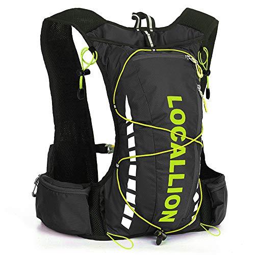 FREEMY Fahrrad-Rucksack, 8 l Fassungsvermögen, für Damen und Herren, für Cross-Country, Laufen, Marathon, Ski, Camping, Black Green - Old Style