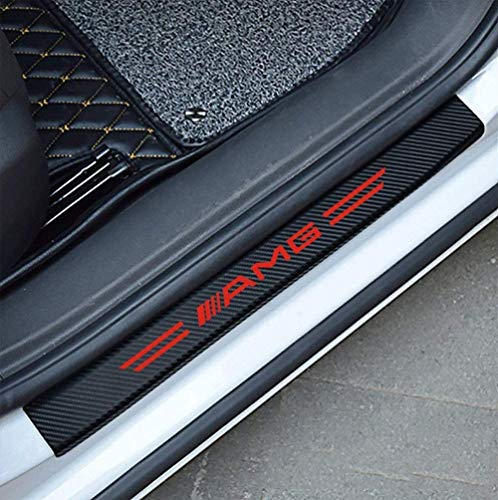 Rsioslez Cubiertas del Pedal del Coche Protectores del umbral de la Puerta, Pedal de Bienvenida Interior del automóvil Refit 4Pcs Adecuado para Mercedes-Benz AMG