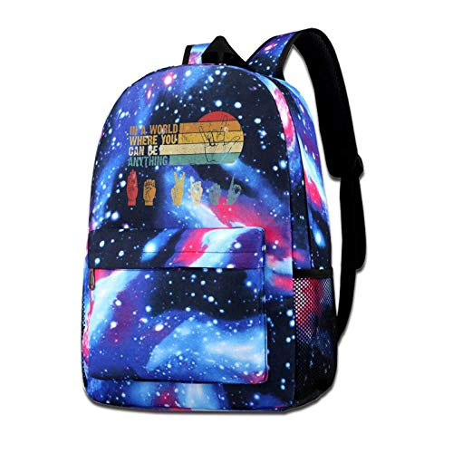 IUBBKI Mochila lateral negra Mochilas informales in The World Where You Can Be Anything Be Kind Sign Language Shoulder Bag