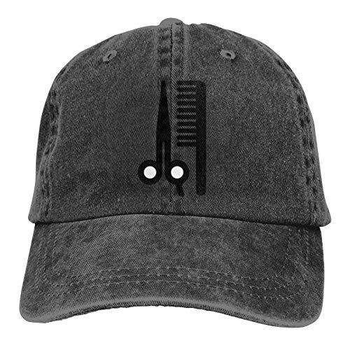 Wfispiy Barber-Kappe, Unisex, hochwertig, verstellbar, Denim, Schwarz