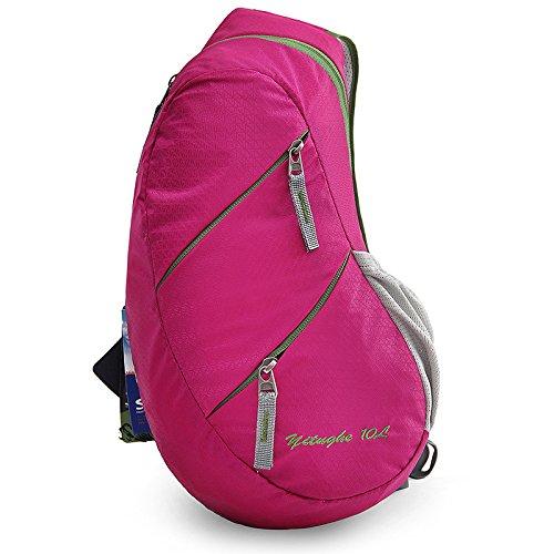 Sac de Poitrine nylon Voyage Ride Portable Imperméable Grande capacité Homme et femme Pack de poitrine Sac de messager Sling bag , red