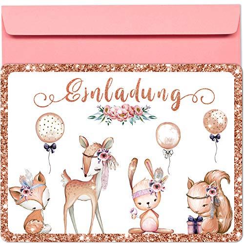 artpin® 10x Glitzer EINLADUNGSKARTEN Party und Kindergeburtstag mit rosa Umschlägen - Geburtstagseinladungen, EINLADUNG für Mädchen zum Geburtstag, Kinderparty - Luftballons Wald Tiere P59