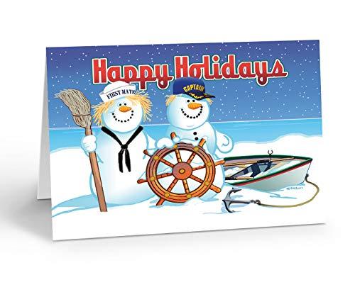 Snowman Captain Boating Christmas Card - 18 Cards & Envelopes - Nautical Theme Holiday Card