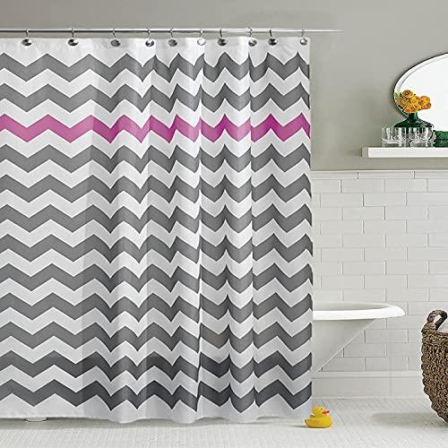 MRBJC Duschvorhang Badewannevorhang Wasserdicht Anti-Schimmel inkl Duschvorhangringe für Badezimmer Fuchsie 180 * 180cm