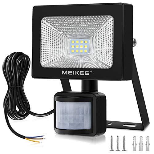 MEIKEE Faretto LED Esterno 10W, Proiettore LED con Sensore di Movimento, PIR Lampada LED, Impermeabile IP66 Faro LED, Illuminazione Bianco Freddo 6000K 1000LM