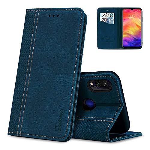 AKABEILA Hülle für Xiaomi Redmi Note 7/7 Pro Handyhülle Leder Flip Hülle Ständer PU Brieftasche Schutzhülle Klapphülle Tasche Hülle mit [Kartenfach] [Standfunktion] [Magnetisch]