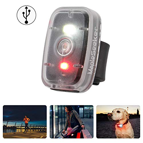 MapleSeeker LED Safety Light USB Rechargeable Running Light for Runners, Clip On Strobe Light, High Visibility for Cycling, Hiking, Dog Collar and Kids, Bike Tail Light with 5 Lighting Modes (1-Pack)