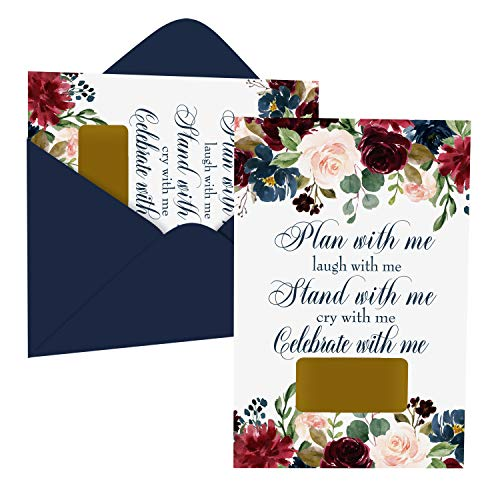 Inked Floral Bridesmaid Scratch Off Cards (8 Pack) Includes Maid of Honor and Matron - Stand With Me - Ideas for Asking Best Friends - Can't Without You - Bridal Proposal Invite Set with Envelopes