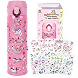 YOFUN Decorate Your Own Water Bottle with 11 Sheets of Unicorn Stickers & Glitter Gems, Craft Kit & Art Kit for Children, Gift for Girls Age 4 5 6 7 8 9 10 Years Old Kids, BPA Free Insulated (Pink)