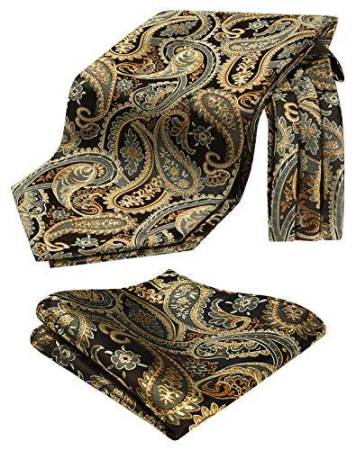 HISDERN Krawattenschal Herren Gold-braun Paisley Blumen Ascot Krawatte Hochzeit Elegant Halstuch und Einstecktuch Set Business