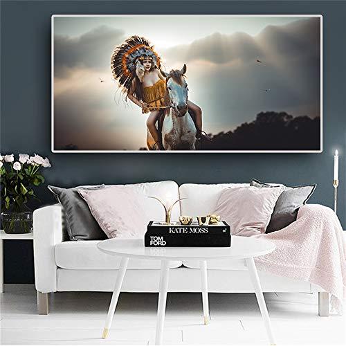 SDFSD Native Indiase schilderij affiches en prints vrouwen paard portret canvas kunst Scandinavische muurschildering voor woonkamer 40X80CM Q