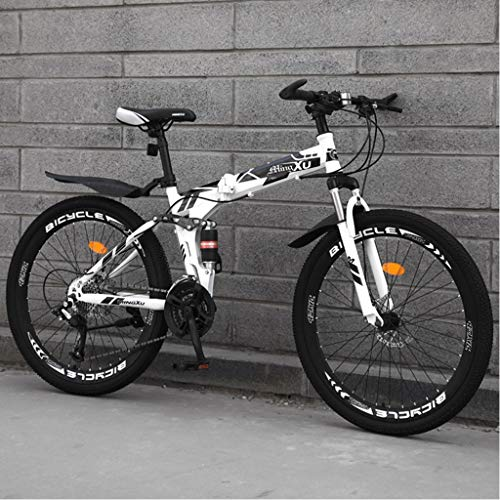 zytyeu Mountain Bike Foldable 24 Inch Wheel Variable Speed Double Shock Absorption System Women Man Outdoor Sports City Commuter Bicycle,Large (Color : White, Size : 21speeds)