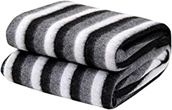 Shivaan Home Furnishing Black and White Striped Polyester Single Bed AC Fleece Blanket (Black&White, 60 inch X 90 inch) TM