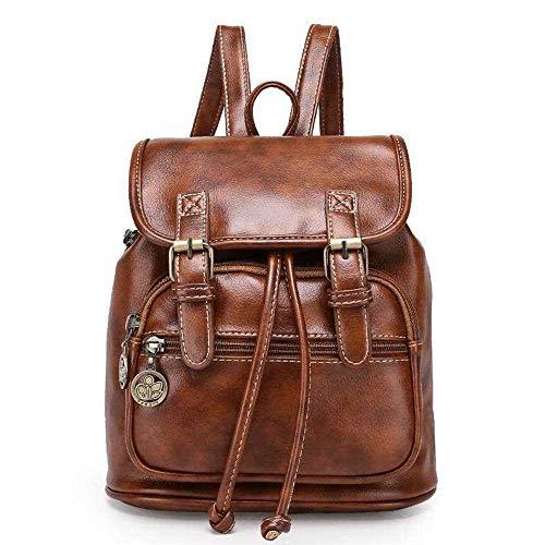 TIBES Mochila cuero PU mochila moda mujeres marrón