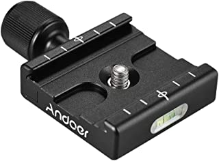 Andoer QR-50 Quick Release Plate Clamp Adapter with Built-in Bubble Level for Arca Swiss RRS Wimberley Tripod Ball Head