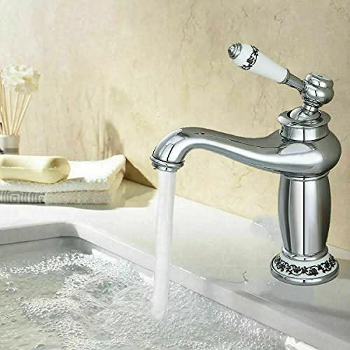 Grifo de latón antiguo para lavabo, baño, grifo de cocina con caja de cerámica, disco de 3/8 pulgadas, estándar elegante