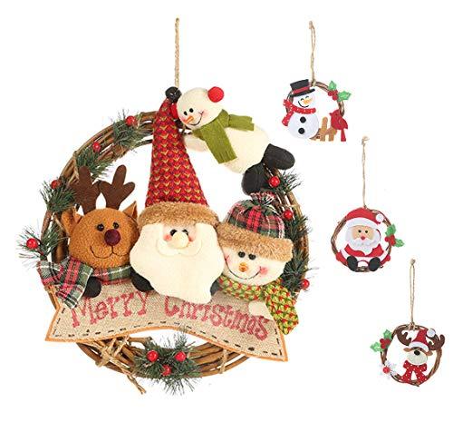 YZCX Guirnalda de Navidad 4 Piezas Corona Navidad Adorno de árbol de Navidad Puerta de Entrada Decoración Navideña