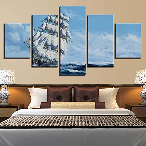 Kunstwerk Canvas Schilderij HD Prints Woondecoratie 5 Stuks Zeilboot Muurkunst Zee Modulair Landschap Foto Woonkamer Poster