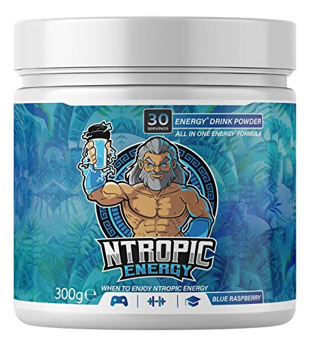 NTROPIC ENERGY - Energy Drink Powder - Energy Fuel Formula - Blue Raspberry 300g (30 Servings) - Formulated for Gaming, Gym, Study – Sugar Free, Gluten Free, Suitable for Vegans